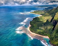 Aerial view of Na Pali coast, located on the Northwest side of Kauai is only accessible by boat or helicopter.